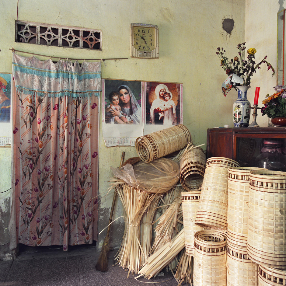 Vietnam - Craft villages - Interior of a home in Ninh So bamboo basket weaving village