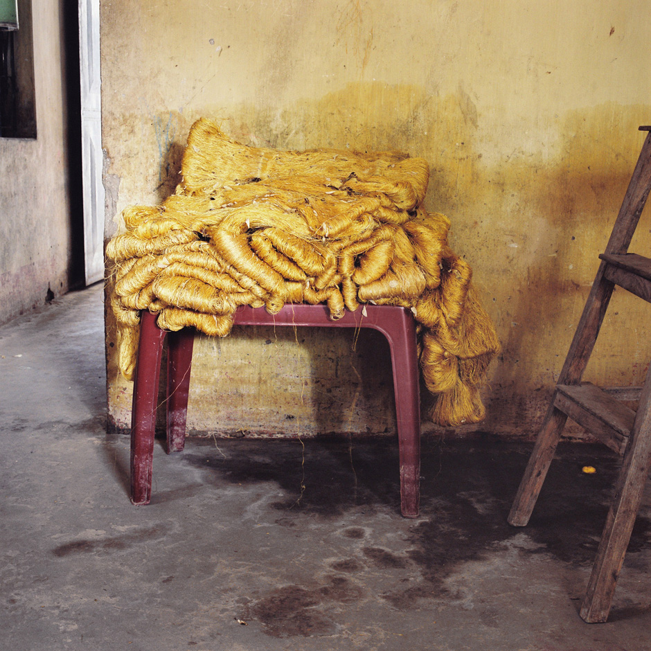Vietnam - Craft villages - Yellow silk at Dai Hung a village specialising in producing silkworms and thread