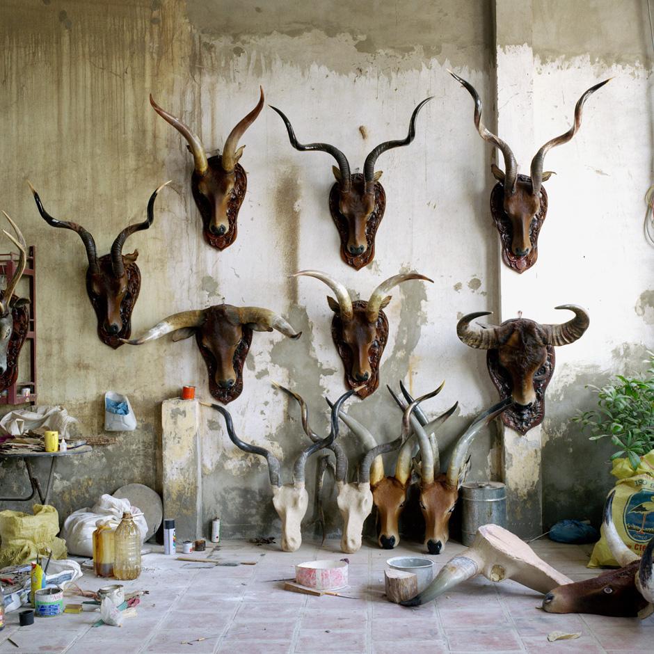Vietnam - Craft villages - Workshop interior in Thuy Ung water buffalo horn processing village