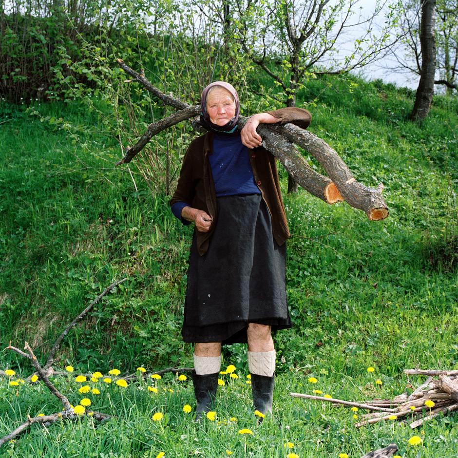 Romania - Carpathian mountains - An elderly peasant farmer carries tree branches home to use as firewood in Maramures