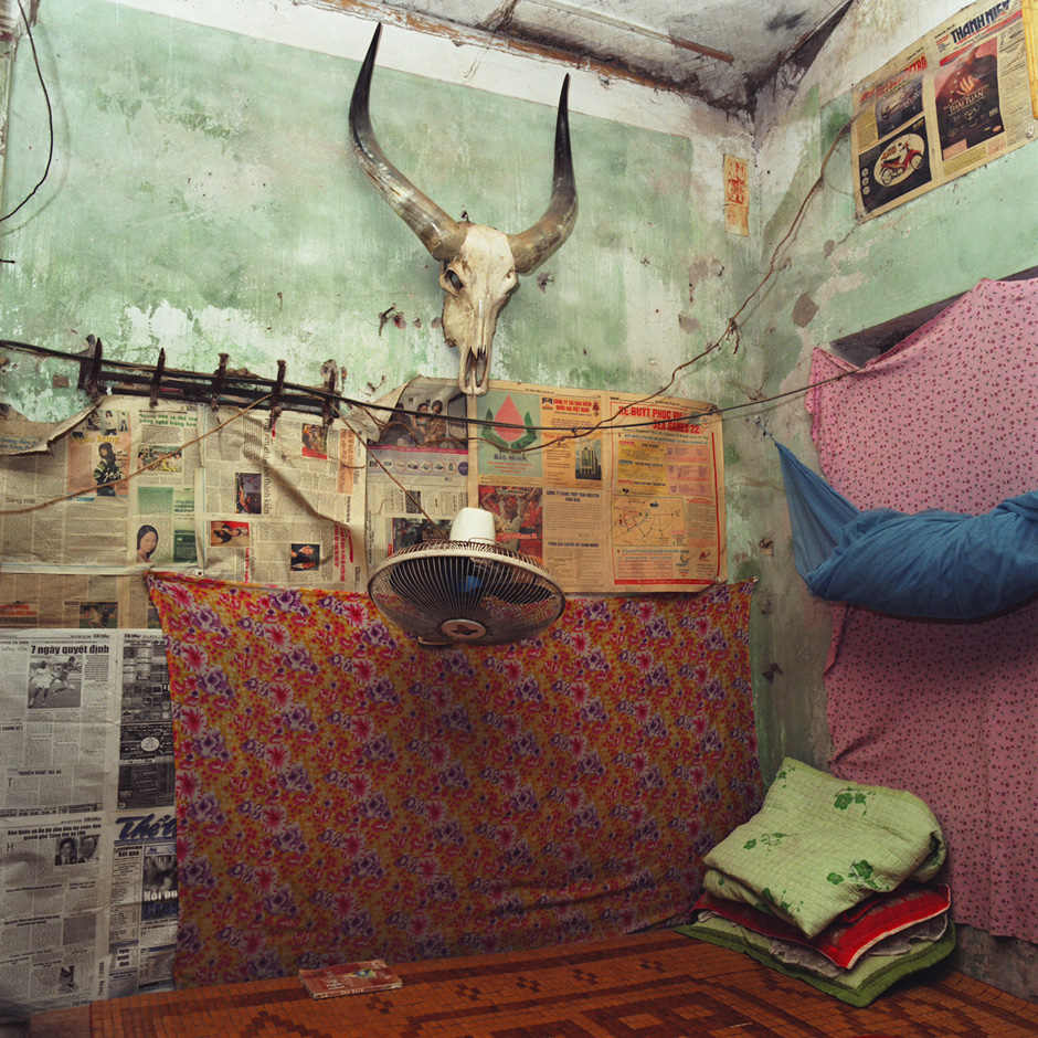 Vietnam - Craft villages - Interior of a village house in Thuy Ung water buffalo horn processing village